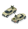 Isometric model of pickup truck armed with machine vector image