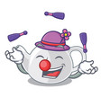 juggling teapot porcelain in a shape cartoon vector image vector image