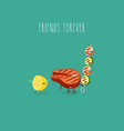 lemon grill salmon shrimp friends forever vector image