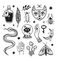 magic elements hand drawn vector image