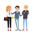 man boss presenting businesswoman and businessman vector image