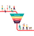marketing funnel with characters buyers flat vector image vector image