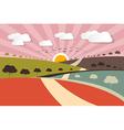 Morning - Evening Rural Paper Landscape Background vector image