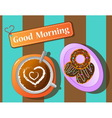 morning relax coffee break and donut vector image
