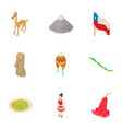 mountain life icons set isometric style vector image vector image