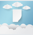 paper art white on sky with clouds vector image