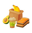 paper bag package with healthy breakfast vector image vector image