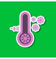paper sticker on stylish background of thermometer vector image vector image