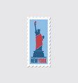 postage stamp with statue of liberty vector image vector image