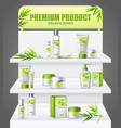 promotion stand cosmetic products vector image vector image
