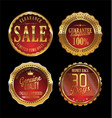quality retro golden badges collection 4 vector image vector image