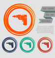 screwdriver power drill icon on the red blue vector image