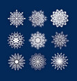 set of 3d snowflake isolated icon papercut vector image vector image