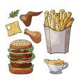 set og hand drawn fast food elements doodle fast vector image