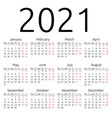 simple calendar 2021 monday vector image vector image
