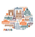 stylized map paris with landmarks and vector image vector image
