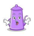 surprised purple teapot character cartoon vector image