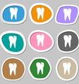 tooth icon Multicolored paper stickers vector image