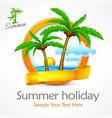 tropical palm tree emblem vector image vector image
