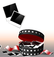 Valentines day polaroids in box vector image vector image