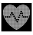 white halftone heart pulse icon vector image