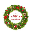 xmas wreath with text vector image vector image