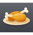 Realistic fried chicken drumsticks Fast Food Icon vector image