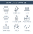 9 cake icons vector image vector image