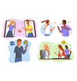 aggressive messages online bullying scenes angry vector image