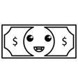 bill dollar money kawaii character vector image