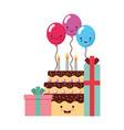 birthday kawaii gift cake and balloons vector image vector image
