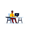 black business man working on computer vector image