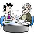 cartoon an business man and a older man having vector image vector image