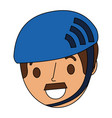 cartoon face man adult wearing sport helmet vector image vector image