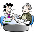 cartoon of an business man and a older man having vector image vector image
