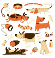 cartoon set with dogs and their ammunition vector image vector image
