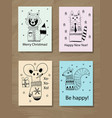 christmas greeting cards with doodle animals vector image