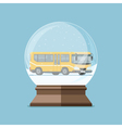Christmas snow globe with yellow bus inside Flat vector image vector image