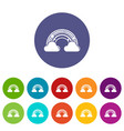 cloud rainbow icons set color vector image vector image
