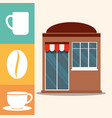 coffee shop market facade vector image