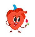 cute and funny smiling human heart character vector image vector image