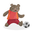 cute cartoon bear playing football fifa world cup vector image