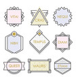 cute geometrical line vintage emblems and labels vector image