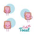 cute toast kawaii cartoon vector image vector image