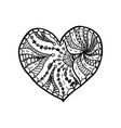 doodle hand drawn heart coloring page book vector image