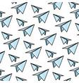 doodle paper plane origami design background vector image vector image
