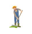 farming man with rake icon vector image