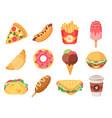 fast food junk food and snacks hamburger taco vector image