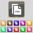 file PDF icon sign Set with eleven colored buttons vector image