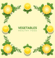 flat lay fresh vegetables on yellow background vector image vector image